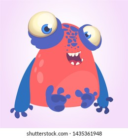 Goofy red monster with blue hands cartoon. Halloween illustration