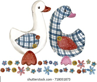 goose. cartoon farm animal. cute pet watercolor illustration.