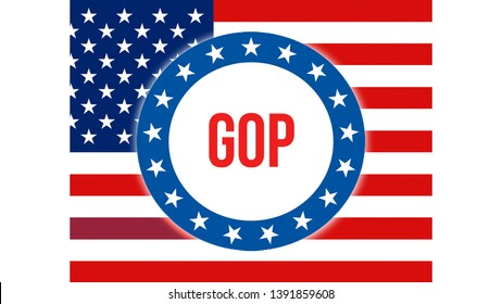 gop election on a USA background, 3D rendering. United States of America flag waving in the wind. Voting, Freedom Democracy, gop concept. US Presidential election banner
