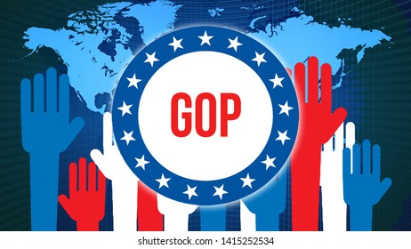 gop election on a World background, 3D rendering. World country map as political background concept. Voting, Freedom Democracy, gop concept. gop and Presidential election banner