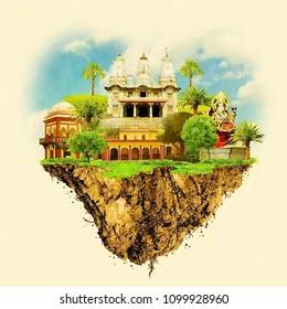 Gorakhpur city water color panoramic illustration