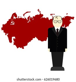 Gorbachev on a background map of the USSR. The illustration on a white background.