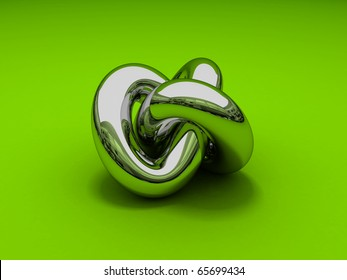 Gordian knot. 3D rendering of a chrome gordian knot on a green background
