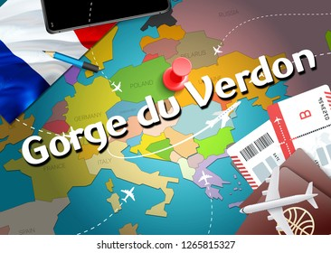 Gorge du Verdon city travel and tourism destination concept. France flag and Gorge du Verdon city on map. France travel concept map background. Tickets Planes and flights to Gorge du Verdon holidays