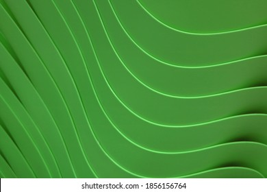 Gorgeous curving lines of the stack of forest green colored acrylic containers for abstract background, Illustration