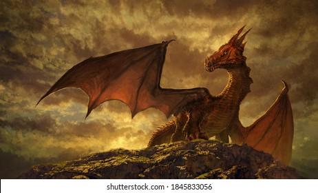 Gorgeous fantasy red dragon art - digital illustration