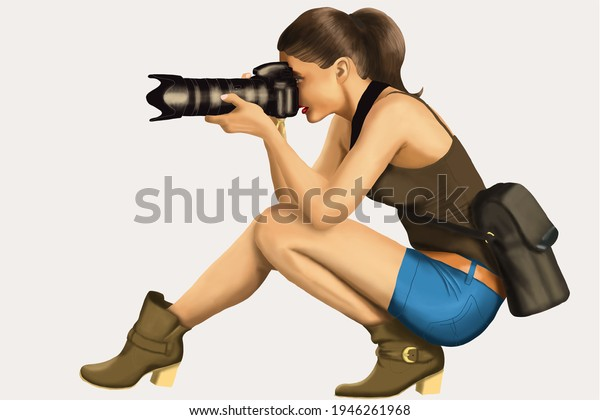 A gorgeous female figure taking pictures.