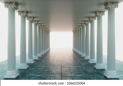Gorgeous Graeco-Roman corridor with columns and a glowing heavenly light at the end, 3d render.