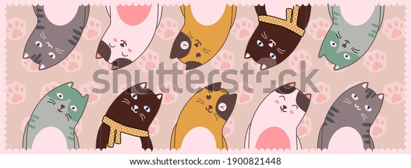 Gorgeous illustration of cute cats.