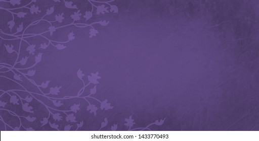 Gorgeous ivy and vine leaves in light purple outline on dark background, pretty border climbing design. Floral nature border for flower shop, garden club, spring or other graphic art decorations.