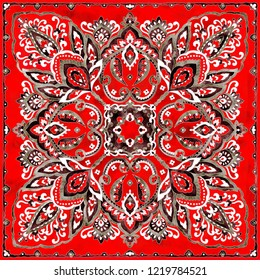 Gorgeous paisley bandanna pattern, hand-painted watercolor vintage ethnic print.