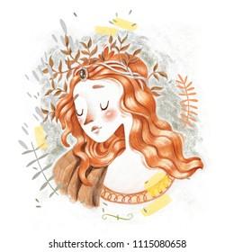 Gorgeous pretty Renaissance Botticelli styled sad red head woman mermaid pencil hand drawn sketch illustration