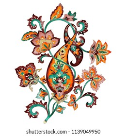 Gorgeous retro Indian paisley design, watercolor hand-painted national design elements