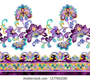 Gorgeous watercolor paisley seamless horizontal border, hand drawn vintage ethnic pattern