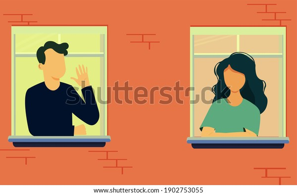 Gorgeous woman and man at the window.