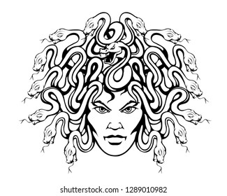 Gorgon Medusa - monster with a female face and snakes instead of hair.