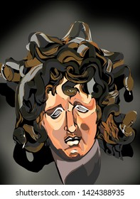 Gorgon Medusa is the most famous of the three Gorgon sisters, a monster with a woman's face and snakes instead of hair. Her gaze turned man to stone.