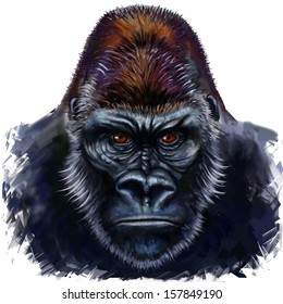 gorilla digital painting, gorilla male