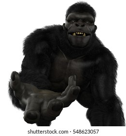 gorilla give it to me frontal 3d illustration
