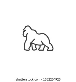 Gorilla icon illustration.Concepts of minimal Animals style.Icon for mobile and web apps.