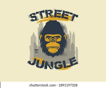 Gorilla King Of The Street. Street Jungle. Jpeg version.