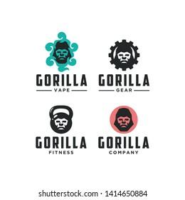 Gorilla logo element with simple design and unique logo design inspiration.