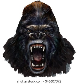 gorilla scream digital painting/ gorilla scream