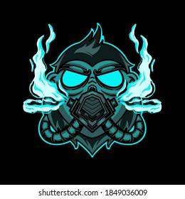 gorilla smoke illustration design concept
