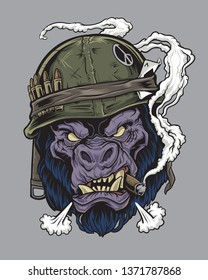 Gorilla Soldier With Cigar