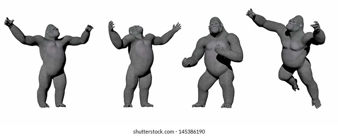 Gorillas up in four different positions in white background
