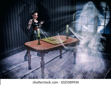 Goth girl summoning a ghosth with an Ouija board. 3D Illustration.