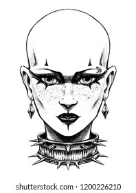 Goth girl with tattoos on her face