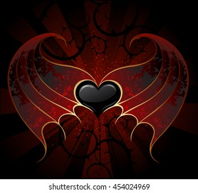 Gothic black heart of vampire with skin, membranous wings, dark luminous background.