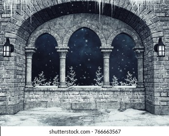 Gothic castle window with lanterns, winter shrubs and icicles. 3D illustration.