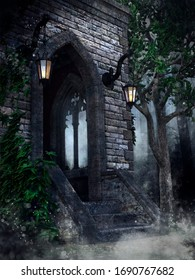 Gothic chapel with lanterns, ivy and a tree in the forest at night. 3D illustration.