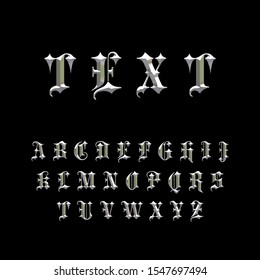 Gothic Chiseled Alphabet Letters. Beveled stylized fonts. Emboss Condensed Letters. Silver Metallic. 3D Render. Isolated on black background.