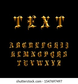 Gothic Chiseled Alphabet Letters. Beveled stylized fonts. Emboss Condensed Letters. Golden Metallic. 3D Render. Isolated on black background.