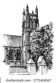 Gothic church. Summer day black and white hand drawing with pen and ink. Sketch style.