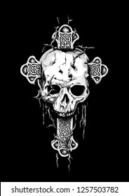 Gothic Cross and Skull - graphic tattoo art (isolated)