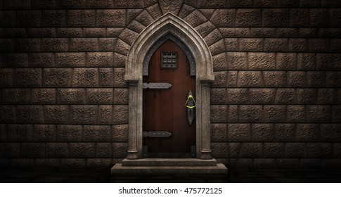 Gothic door with lancet arch on a stone wall. 3D illustration