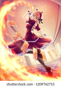 Gothic girl casting the fire spell with cards.