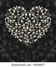 gothic heart with roses - raster copy