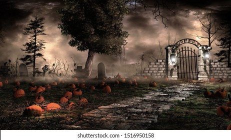 Gothic landscape with pumpkins and tombstones. 3D illustration.