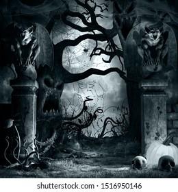 Gothic scene with creepy trees and gargoyles. 3D illustration.