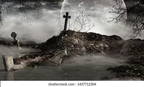 Gothic scene with devastated tombstones. 3D illustration.