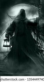 Gothic scene with grim reaper, lantern and scythe. 3D illustration.