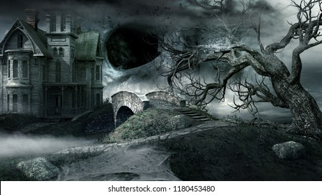 Gothic scenery with abandoned house and creepy tree. 3D illustration.