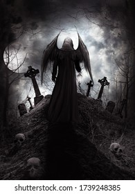 Gothic scenery with angel, skulls and tombstones. 3D illustration.