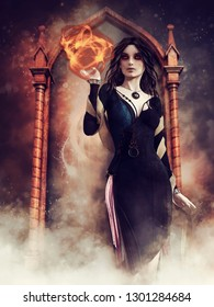Gothic sorceress holding a sphere of fire and standing in front of a mirror. 3D illustration.