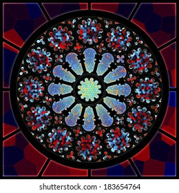 Gothic stained glass window - rosette